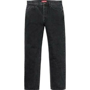 Supreme Black Jeans Solid Button Fly